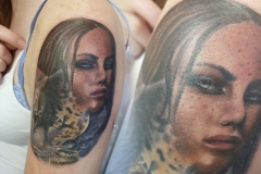 Realism leopard and woman